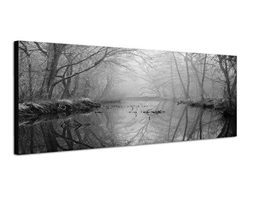 Augenblicke Wandbilder Keilrahmenbild Panoramabild SCHWARZ/Weiss 150x50cm Wald Bäume Fluss Nebel Dunst
