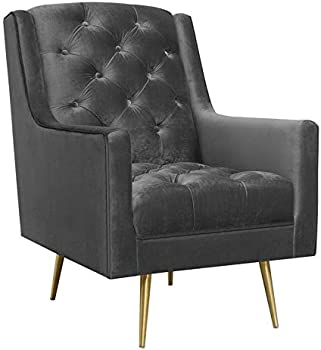 Society Den Reese Button-Tufted Accent Chair with Gold Legs