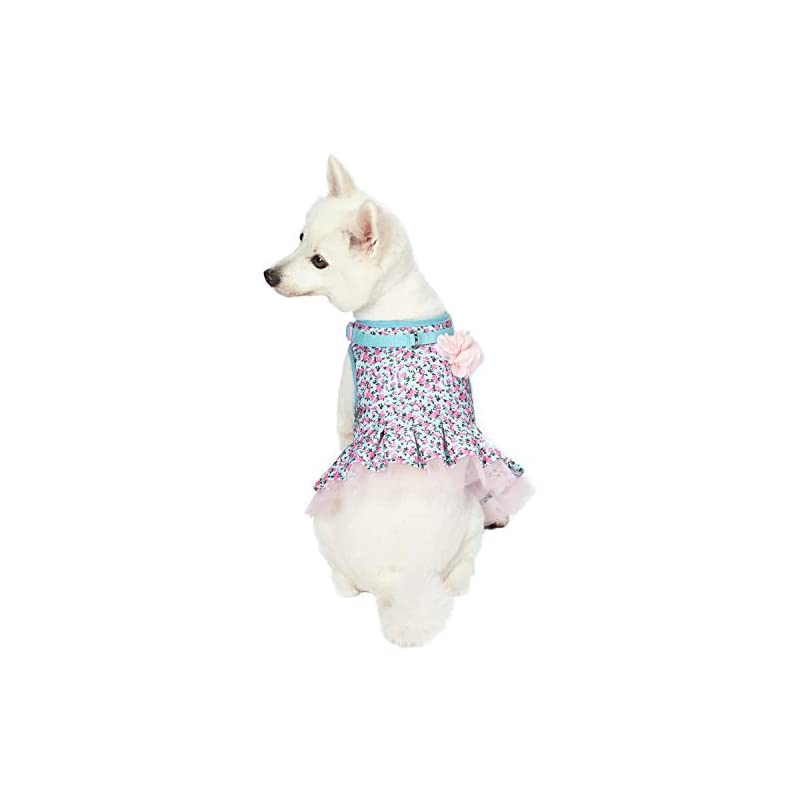 """dog supplies online blueberry pet 3 patterns soft & comfy made well cute floral no pull mesh dog costume harness dress in light blue, chest girth 19""""-21"""", small, adjustable harnesses for dogs"""
