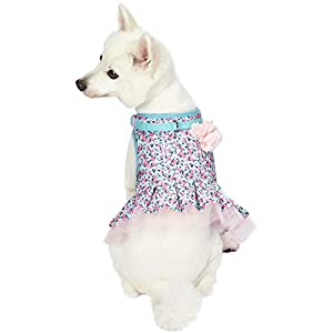 Blueberry Pet 3 Patterns Soft & Comfy Made Well Cute Floral No Pull Mesh Puppy Dog Costume Harness Dress in Light Blue, Chest Girth 14″-16″, X-Small, Adjustable Harnesses for Dogs