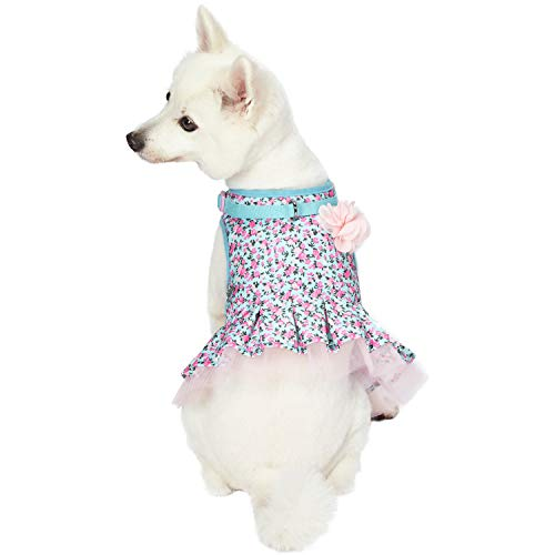 Blueberry Pet 3 Patterns Soft & Comfy Made Well Cute Floral No Pull Mesh Puppy Dog Costume Harness Dress in Light Blue, Chest Girth 14
