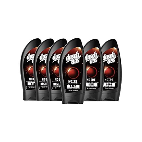 Duschdas 6er Pack 2 in 1 Duschgel & Shampoo für Männer Noire Duschbad mit anregendem Zedernholzduft (6 x 250 ml)