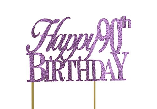 Happy 90th Birthday Cake Topper - Choice of 17 Colors