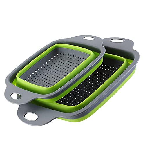 LOEMWJ Cubo plegable 2 piezas de cocina de silicona plegable sobre fregadero, colador de frutas y verduras, escurridor de lavado plegable cesta de drenaje (color: verde)