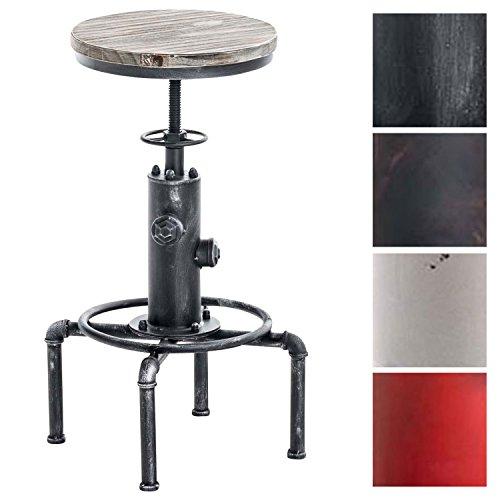 CLP Metall-Barhocker Lumos mit höhenverstellbarem Holzsitz I Thekenhocker mit Fußstütze I erhältlich antik Silber
