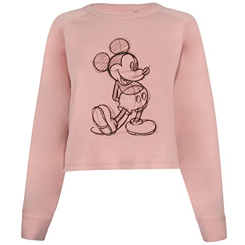 Disney Mickey Sketch Cropped Crew Suéter pulóver, Dusty Pink, Large para Mujer