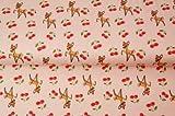 Stoff Hirsch Jersey – Hirsch Bambi rosa – Schneider- &