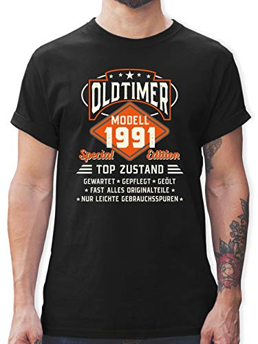 Geburtstagsgeschenk Geburtstag - Oldtimer Modell 1991 - L - Schwarz - t Shirts männer zum 30. Geburtstag - L190 - Tshirt Herren und Männer T-Shirts