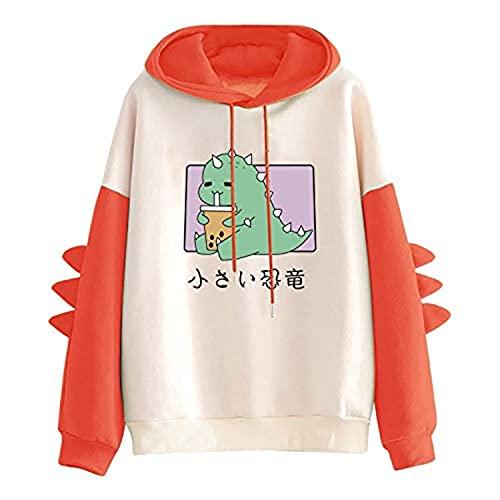 Tekaopuer Y2K - Sudadera con capucha para mujer, diseño vintage y gráfico con cremallera, G1-orange, M