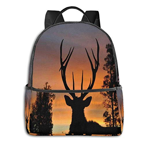 """School bag Double black Backpacks,Black Deer On Sky Background West Coast South Island New Zealand Nature,Casual Hiking Travel Daypack 12""""5""""14.5""""(LWH)"""