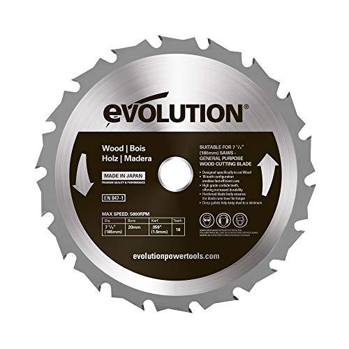 Evolution Power Tools – construire Rageblade185wood Evolution 185 mm Bois Tête en carbure Lame, 0 V, Multi, 185 mm