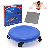 Sunsign Disc Core Fitness Roller Abdominal Exercisers ab Universal Wheel Roller with Knee Mat AB and Total Body Exercise System Coasters Abdominal Exercisers Easy Assembly Blue