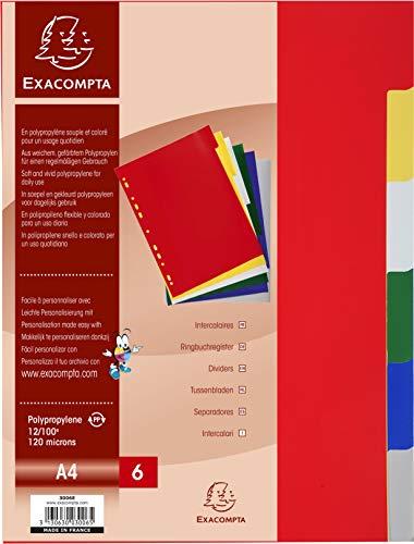Exacompta - Réf. 3006E - Intercalaires en polypropylène souple avec 6 onglets neutres - Indéchirables - Format à classer A4 - Dimensions 22,5 x 29,7 cm - Couleurs assorties