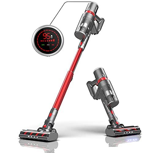 Laresar Elite Pro Aspirateur balais sans Fil, 400W, 30Kpa aspirateur Ecran LED Intelligent, Batterie Amovible, HEPA Filtre, Jusqu