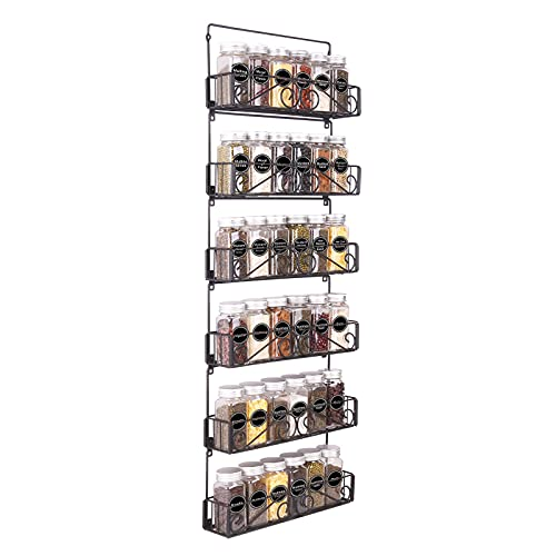 SWOMMOLY Wall Mount Spice Rack Organizer, 6 Tier Hanging Spice Racks Stackable Foldable Spice Storage Shelf, Black, Medium. Perfect for Wall, Cupboard or Pantry Door