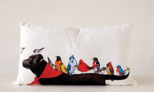 Creative Co-Op Multicolor Cotton Birds on a Black Dog Pillow, Cream