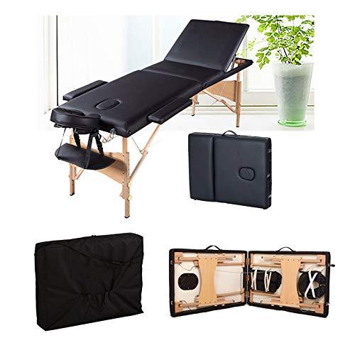 Mobile Massageliege Massagetisch Klappbar Massagebett Massagebank mit 3 Zonen höhenverstellbaren HolzFüßen Kosmetik Bank (bis 230kg belastbar) - Schwarz