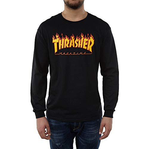 Thrasher Flame Long Sleeve Herren Langarmshirt M Schwarz