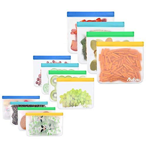 Aufisi Wiederverwendbare Sandwich Beutel (12 Stück), Ziplock Leakproof Food Storage Bag, ECO BPA frei Snack-Beutel Mittagessen Taschen Gefrierschrank Safe für Lebensmittellagerung, Reise