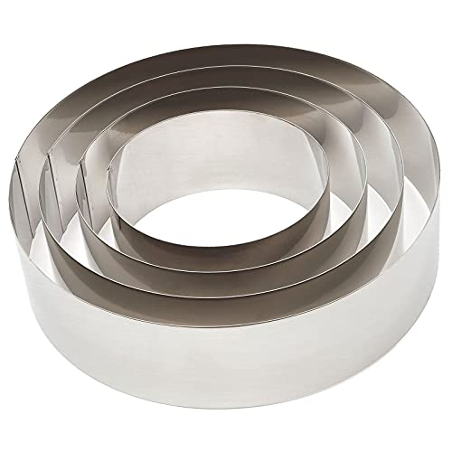 Round Cake Rings Set, 6/8/10/12 inch Stainless Steel Baking Cutter (4 Piece)