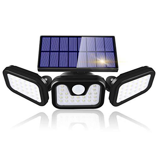 Linkax Luce Solare LED Esterno, Faretti Solari 74 LED con Sensore di Movimento, IP65 Impermeabile Luce Solare 3 Teste 3 modalità per per Faro, Parete, Giardino