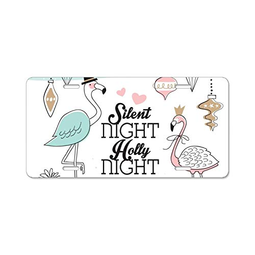 wanshangcheng Flamingo With Gift License Plate Frame,Car Decoration Accessories,Quality Sturdy Metal Alumina Frame