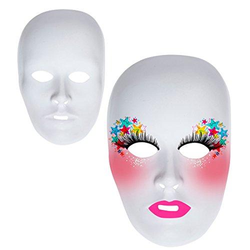 NET TOYS Weiße Unbemalte Maske Frauenmaske Neutrale Phantom Maske Karnevalsmaske zum Bemalen Opernmaske Ballmaske Frauengesicht Halbmaske Frau