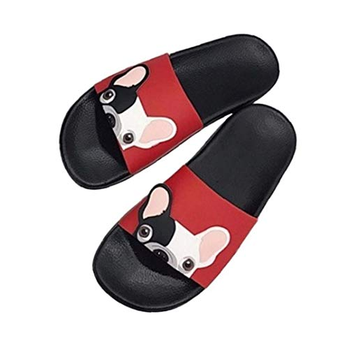 Cartoon Französisch Bulldog Print Sommer Slide Hausschuhe für Männer Frauen Indoor Open-Toe Sandalen Rot Größe 37