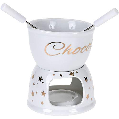 EH Excellent Houseware X-Mass Schokoladenfondue-Set, weiß mit goldenen Sternen