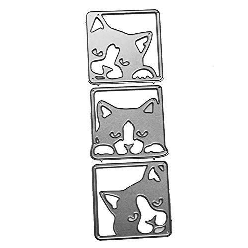 RIsxffp Manualidades Corte Muere De Lindo Gato Metal Troqueles De Corte DIY Scrapbooking Relieve Tarjetas Álbum Arte Stencil Silver