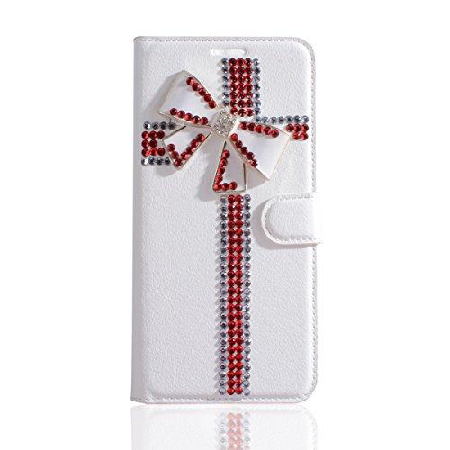 Gift_Source HTC Desire 650 Hülle, [Rote Schleife] PU Leder Hülle Schutzhülle Brieftasche Handyhülle Faltbare mit Standfunktion Flip Hülle Cover für HTC Desire 650/626 (5.0