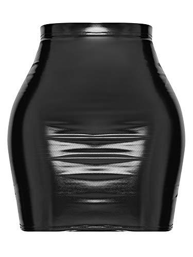 Justalwart Women's Black Leather Mini Skirt Slim Cut High Waist Elastic Pencil Latex Skirt with Zip Front (S, Shape Black Vinyl Bodycon Skirt)