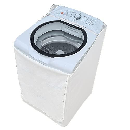 Capa Maquina de Lavar Brastemp 11kg Ziper Painel Transparente (Branca)