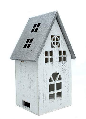 DARO DEKO Holz LED Haus weiß Silber 12 x 21cm