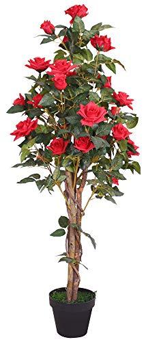 Decovego Rose Rosenstock Rosenbusch Rosenstamm Künstliche Pflanze Kunstpflanze mit Blüten Echtholz Rot 120cm