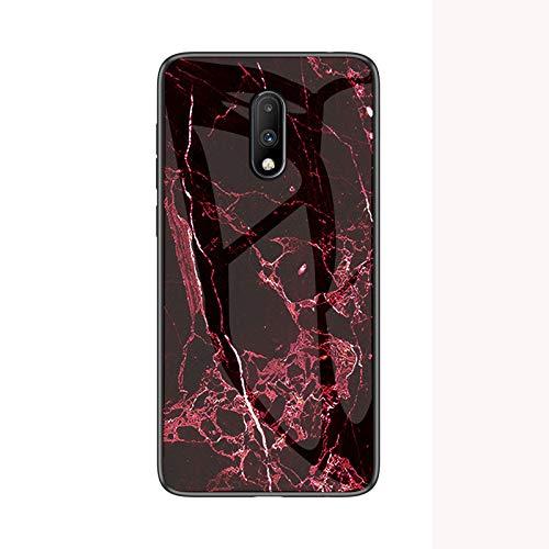 COVO® Funda para Oneplus 7 Marmol Case Tapa Trasera de Cristal Templado con TPU Edge Carcasa para Oneplus 7 (Rojo)