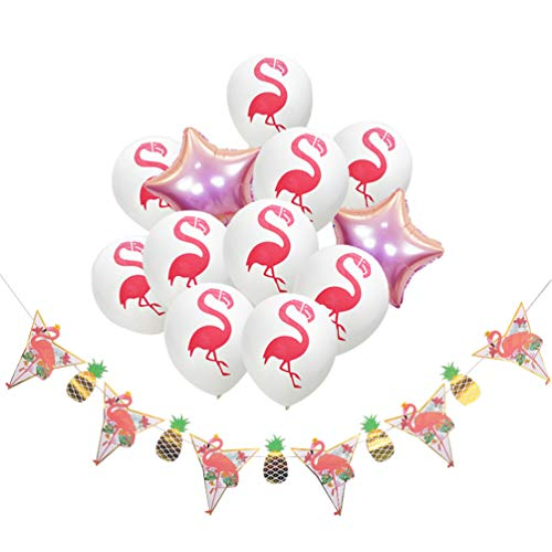 PRETYZOOM 13pcs Hawaii Birthday Party Decorations Flamingo Printed Latex Balllons Star Foil Balllons Pineapple Flamingo Banner Flag for Summer Beach Party Supplies (White)