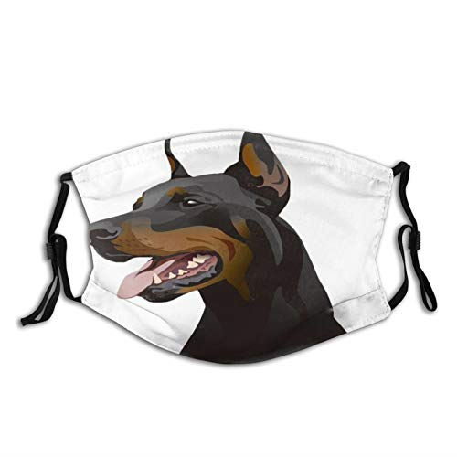 Fillter Face Cloth for adult,Doberman Dog,Reusable Windproof Mouth Anti Dust Double Protection