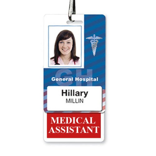Medical Assistant Badge Buddy - Heavy Duty Vertical Badge Buddies for Medical Assistants - Spill & Tear Proof Cards - 2 Sided USA Printed Quick Role Identifier ID Tag Backer by Specialist ID