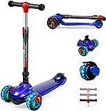 TX Roller Kinder Scooter | Kinderroller | Kinderscooter | Scooter Kinder mit 3 PU LED Leuchtenden Räder,Höhenverstellbar und faltbarem Lenker Kinder Roller für ab 2-12 Jahre Jungen und Mädche-Blau