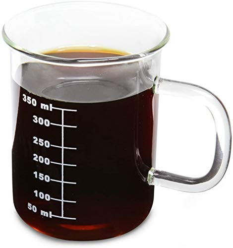 Novelty Laboratory Beaker Mug 14 Ounces (425 ml) - Made from Heat Resistant Borosilicate Glass - Accurate Measurement Markings on Side - Microwave Safe - Perfect for a Coffee, Tea & Science Lover