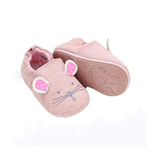 COSANKIM Infant Baby Boys Girls Slipper Soft Sole Non Skid Sneaker Moccasins Toddler First Walker Cirb House Shoes, 12-18 Months Toddler, 01 Pink cat