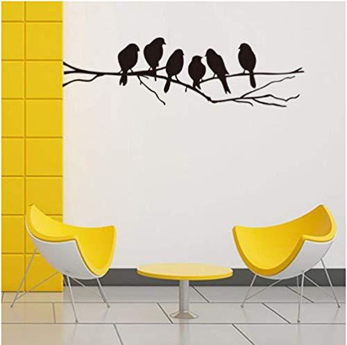 STPillow muursticker - zwarte vogel op de tak slaapkamer woonkamer achtergrond decoratie muurkunst sticker leuke vogel sticker