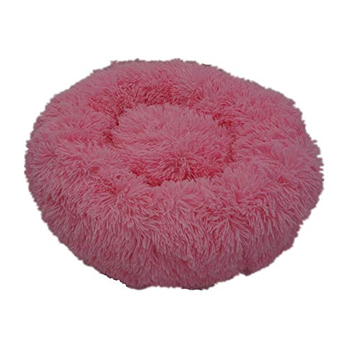 Haieshop Dog Mat Round Pet Bed Plush Soft Washable Self Warming Calming Dog Bed Donut Round Dog Bed Comfortable for Sleeping Winter (Color : Rose, Size : 60cm)