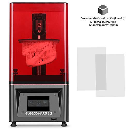 ELEGOO Mars 2 Pro Impresora 3D Mono MSLA Impresora 3D de Resina LCD de Fotopolimerización UV con LCD Monocromático 2K de 6 Pulgadas, Tamaño de Impresión 129mm(L)*80mm(W)*160mm(H)