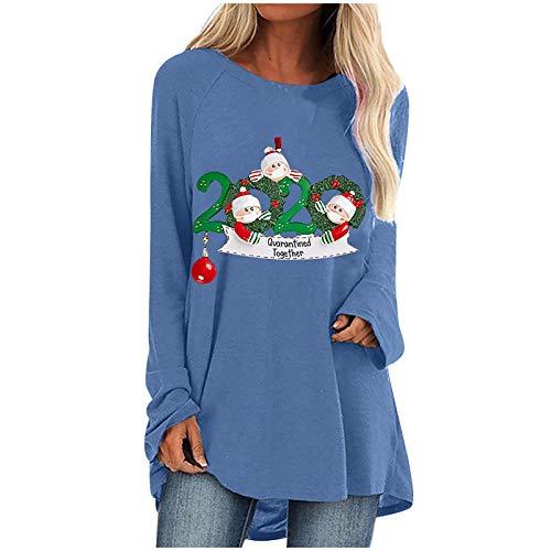 Tops - Blusa de manga larga para mujer, diseño de Navidad, informal, con cuello en O, suelta, esponjosa, de moda, de Papá Noel, buen regalo para las mujeres, azul, L