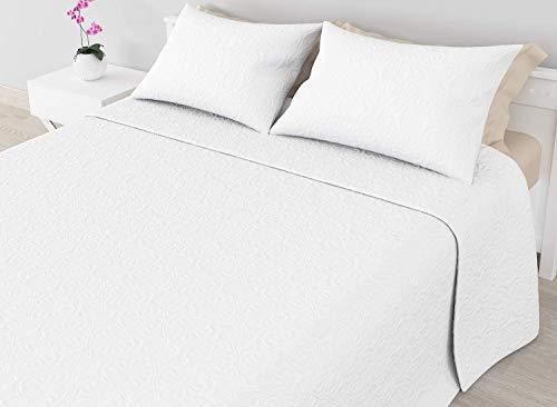 Cabetex Home - Colcha Bouti - Microfibra Transpirable - Diseño termosellado - Color Liso - con Fundas de cojín (Blanco, Cama de 105 cm (200X260 cm))