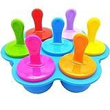 Jky - Stampi per gelato al manico, 7 fori, riutilizzabili, per gelato e frutta blu