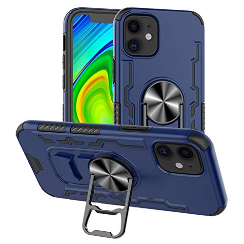Fadter Compatible with iPhone 12 Case Armor Military Grade for iPhone 12 Phone case with Built-in 360°Rotatable Magnetic Ring Bottle Opener Shockproof Bumper Heavy Duty Case for iPhone 12 (Blue)