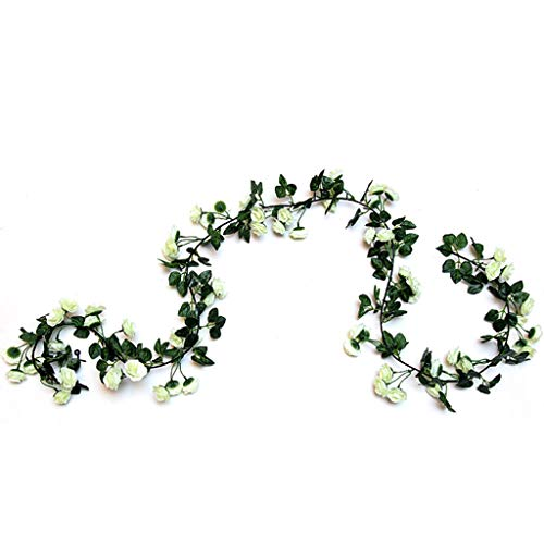 PimeO 2PCS 5Artificial Rose Vine Flowers Plants for Home Ceremony Wedding Arch - White